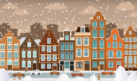 Dutch town in winter Vector