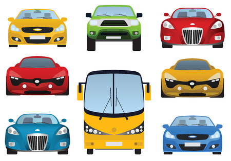 Cars collection  front view  Vector