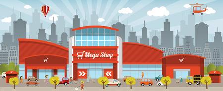 centre d affaires: Shopping dans la ville Illustration