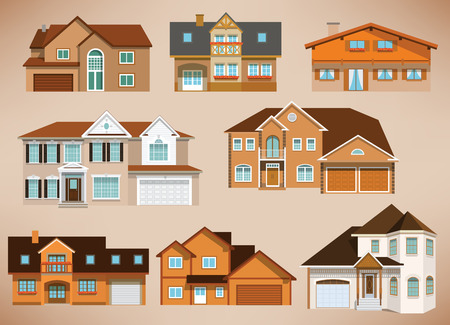 City houses  retro colors  Vector