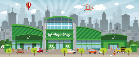 Shopping in the city Illustration