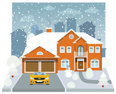 Family house in winter  diorama  Vector
