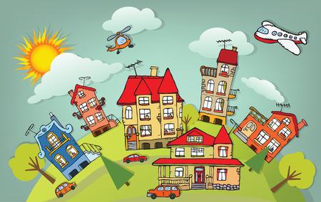 Cidade dos desenhos animados Ilustração