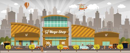 Shopping in the city Ilustração