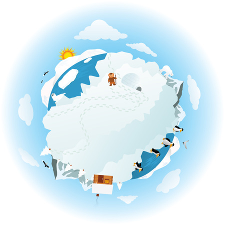 Around the frozen planet earth Illustration