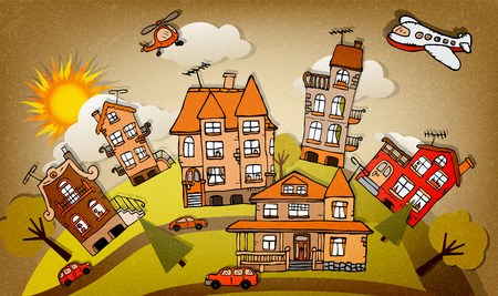 Cartoon city  autumn  Vector