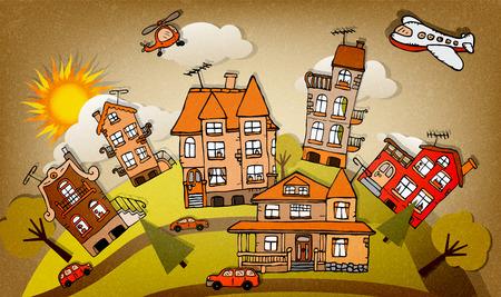 global village: Cartoon city  autumn  Illustration