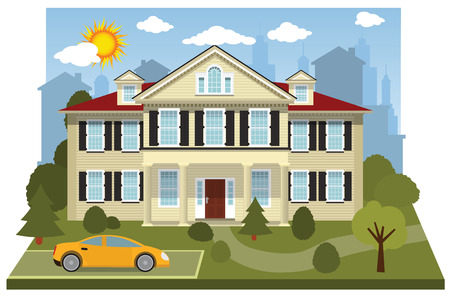 Family house  diorama  Vector