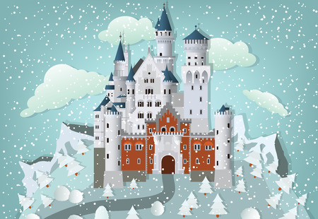 fairytale castle: Fairytale castle in winter Illustration