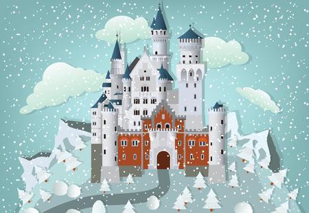 Fairytale castle in winter Illustration