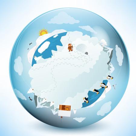 ガラス球の冷凍地球  イラスト・ベクター素材