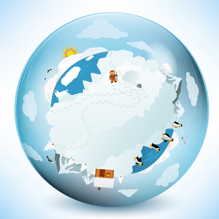 Frozen earth in the glass sphere Stock Vector - 26536473