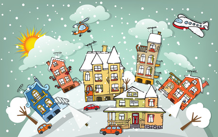 Cartoon city  Winter  Vector