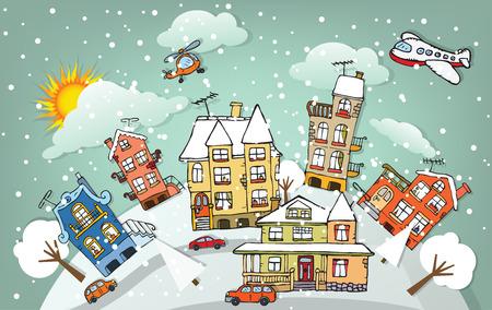 Cartoon Stadt Winter- Standard-Bild - 27329539