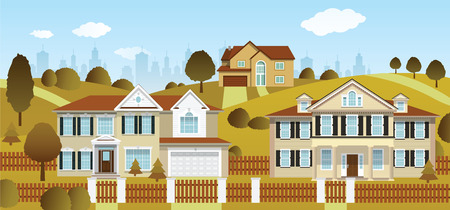 suburban street: Life in the suburbs  autumn  Illustration