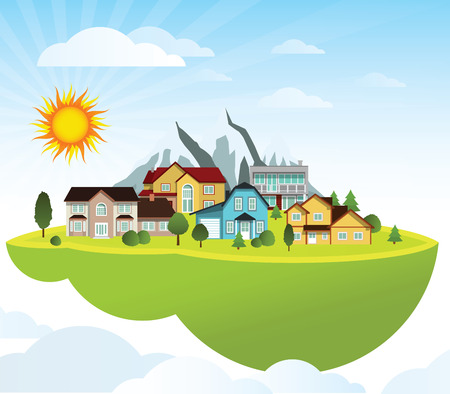 world village: Flying island  village