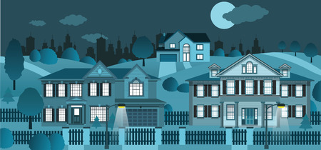 Life in the suburb  night  Vector
