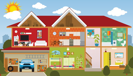 knippen: In het huis Stock Illustratie