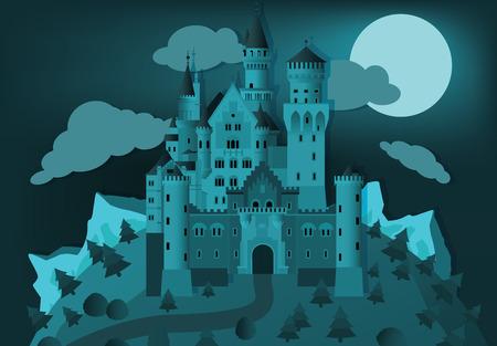 castello fiabesco: Castello delle fiabe nella notte Vettoriali