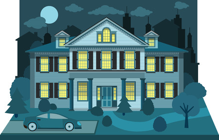 diorama: Family house in the night  diorama  Illustration