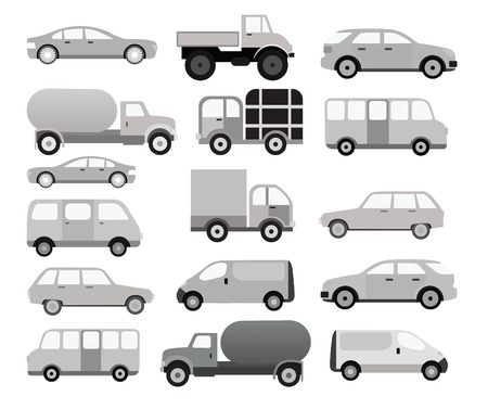 Cars collection  black   white  Vector