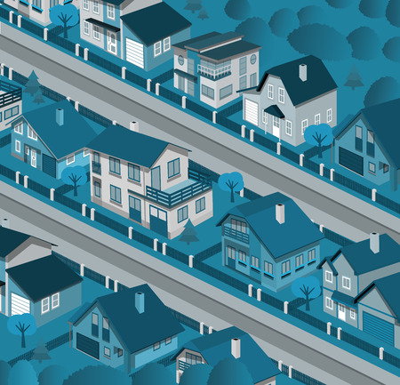 row houses: City in perspective  night
