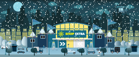 Einkaufen in der Nacht in der Stadt Winter
