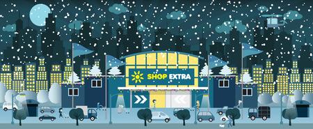 Shopping dans la nuit d'hiver de la ville