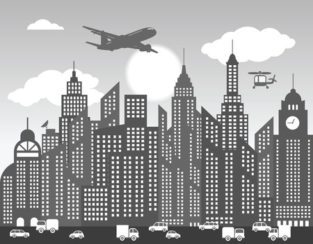 Black   white city  Background  Vector