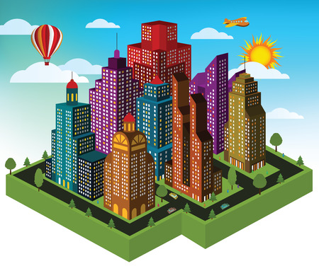 City in perspective Vector