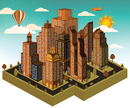 City in perspective Vector