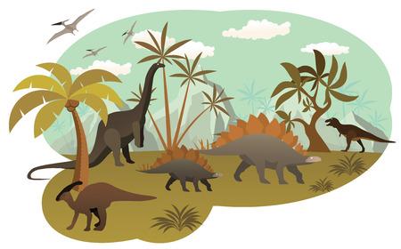 World of dinosaurs Vector