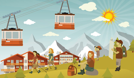 mountain view: Tourists in the Alps Illustration