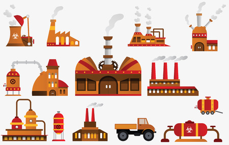chemical hazard: Factory icons Illustration