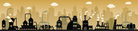 oil tank: Factory in the city Illustration