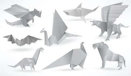 Origami animals  black   white  Illustration