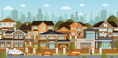 La vie dans les banlieues Banque d'images - 29860909