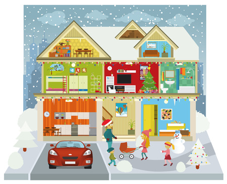 Inside the house  Winter  Vector