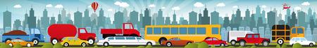 市内の交通渋滞  イラスト・ベクター素材