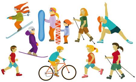 nordic ski: People  various sport activities  Illustration
