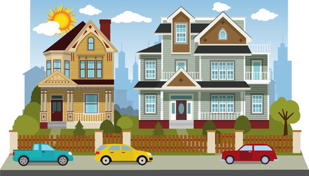 Family houses  diorama  Vector