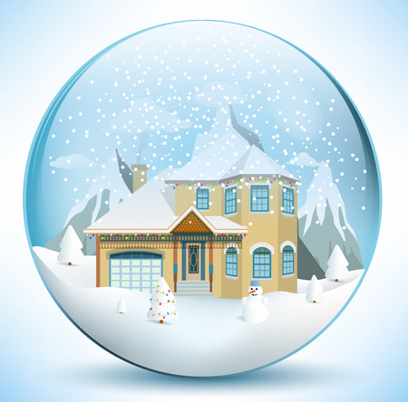 Christmas sphere with house Vector