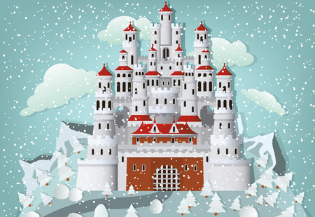 Fairytale castle in winter Illustration
