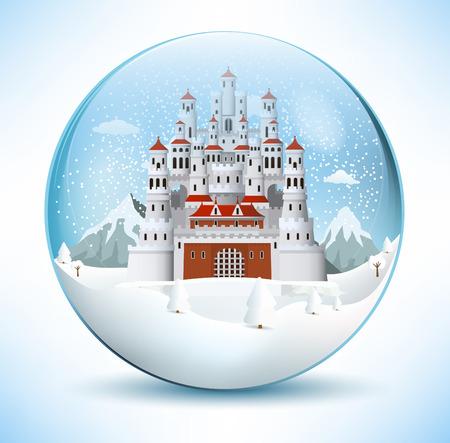 esfera de cristal: Castillo de cuento de hadas en la esfera de cristal Vectores