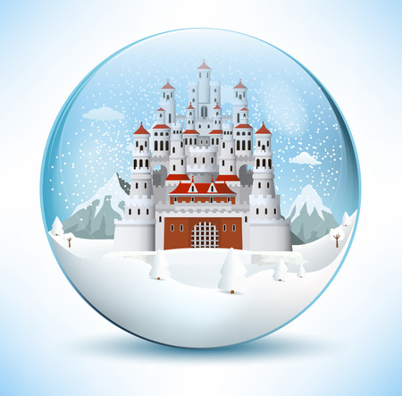 Fairytale castle in the glass sphere Illustration