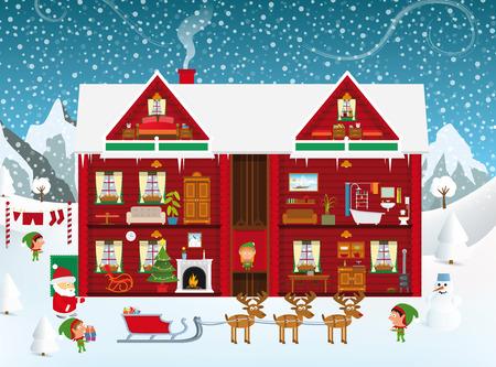 Inside the Santa?s House Vector