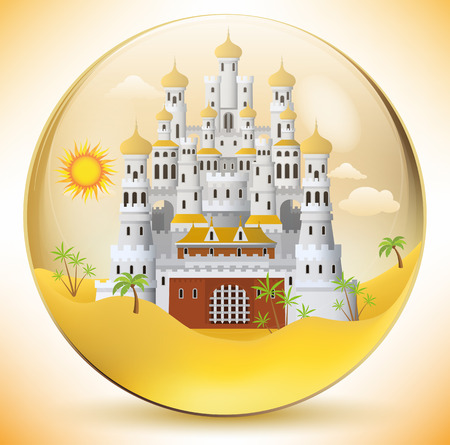 algeria: Oriental palace in the glass sphere