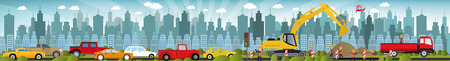 cars on road: Work on roads (Traffic jam) Illustration