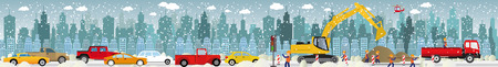 winter car: Work on roads (Traffic jam) - Winter
