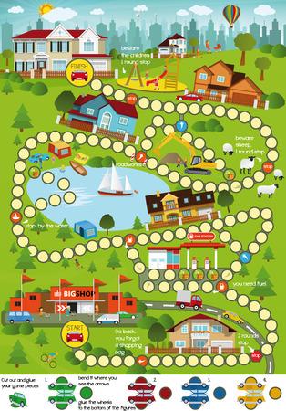 Board game (Cartoon city) Vector Illustration